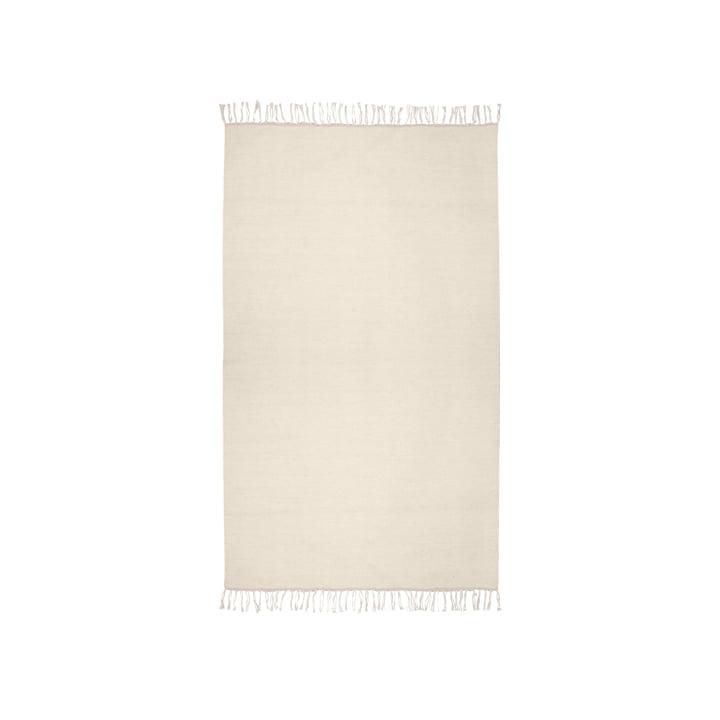 Le tapis Kelim de Connox Collection , 90 x 160 cm, blanc cassé.