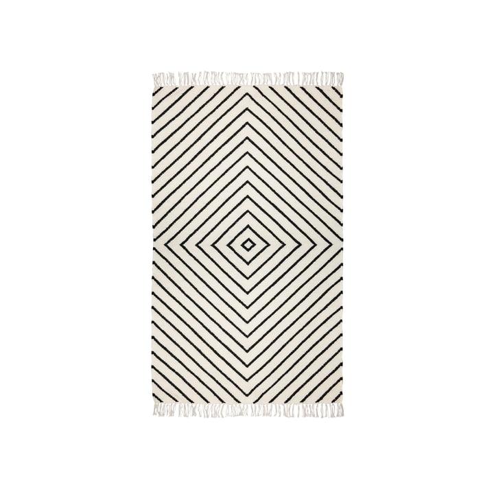 Le tapis kilim de Connox Collection , 90 x 160 cm, motif diamant, blanc cassé / noir