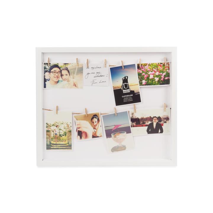 Clothesline Cadre photo de Umbra en blanc