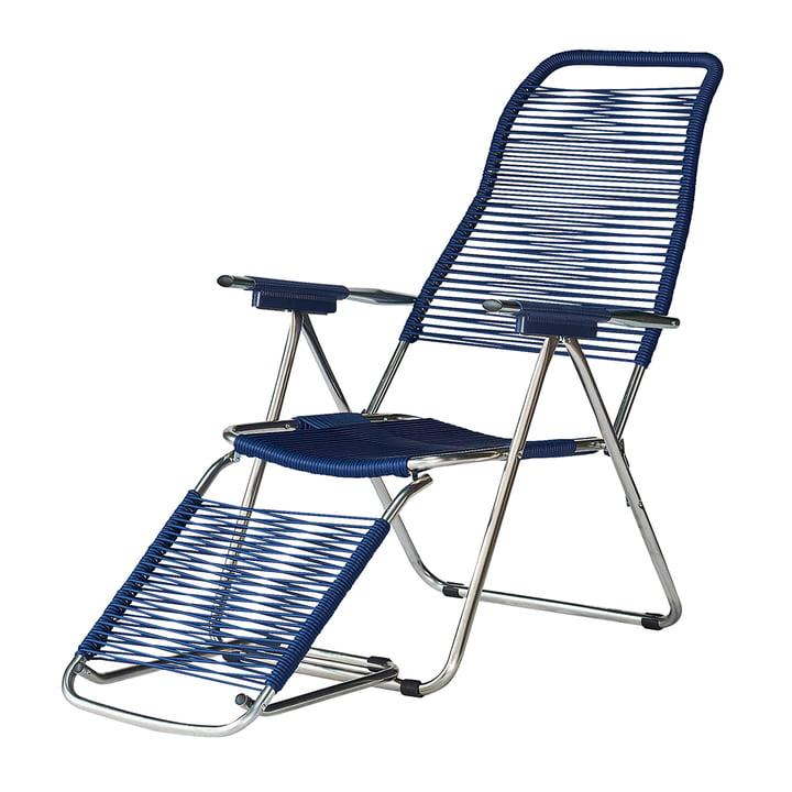 La chaise longue Spaghetti de Fiam , cadre aluminium / revêtement bleu