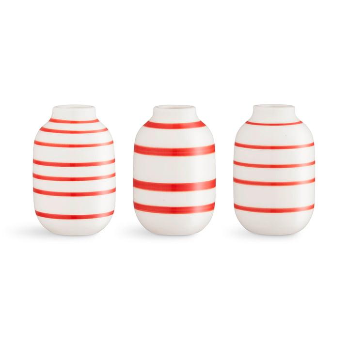 Omaggio Vase miniature H 8 cm de Kähler Design en écarlate (lot de 3)