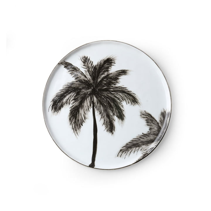 Le site Bold & Basic Assiette en céramique de HKliving , Ø 22 cm, blanc / motif palmier