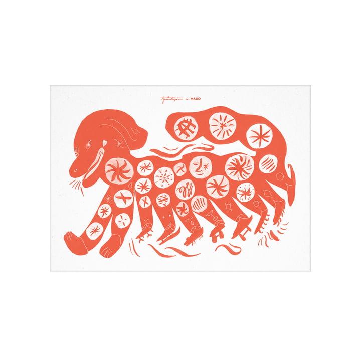 L'affiche Chinese Dog de Paper Collective , 30 x 40 cm, rouge