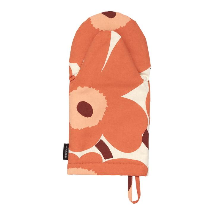 Le site Pieni Unikko Gant de four Marimekko, lin / orange / bordeaux (automne 2021)
