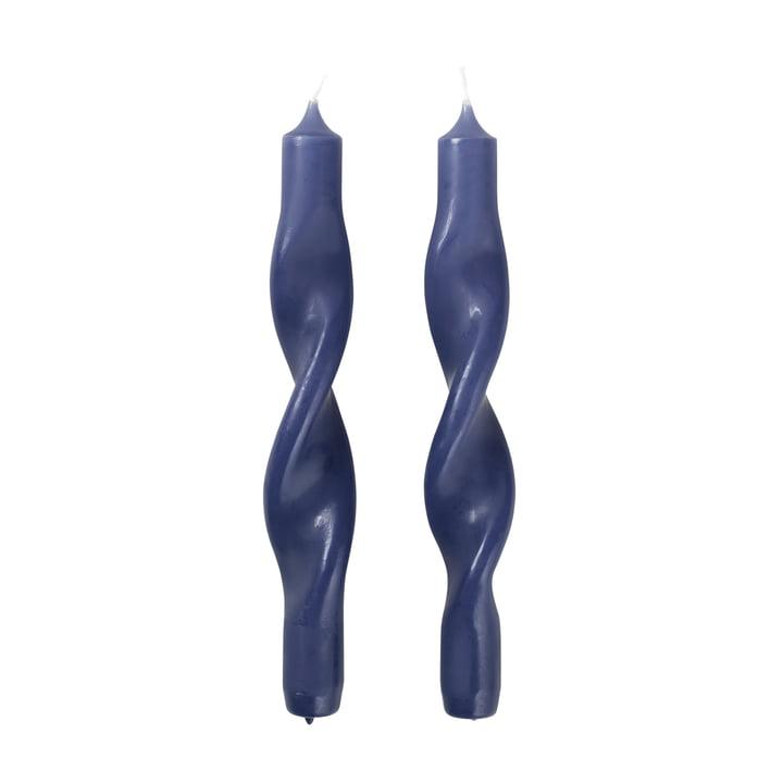 Les bougies Twist de Broste Copenhagen , bleu baja (lot de 2)