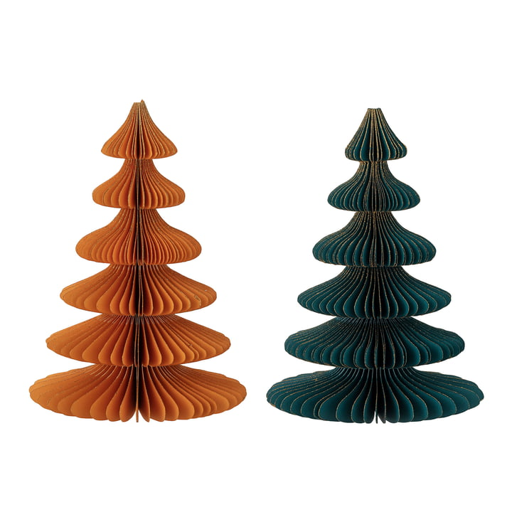 Milan Sapin de Noël décoratif Ø 15,5 x H 22,5 cm (lot de 2) de Bloomingville en multicolore