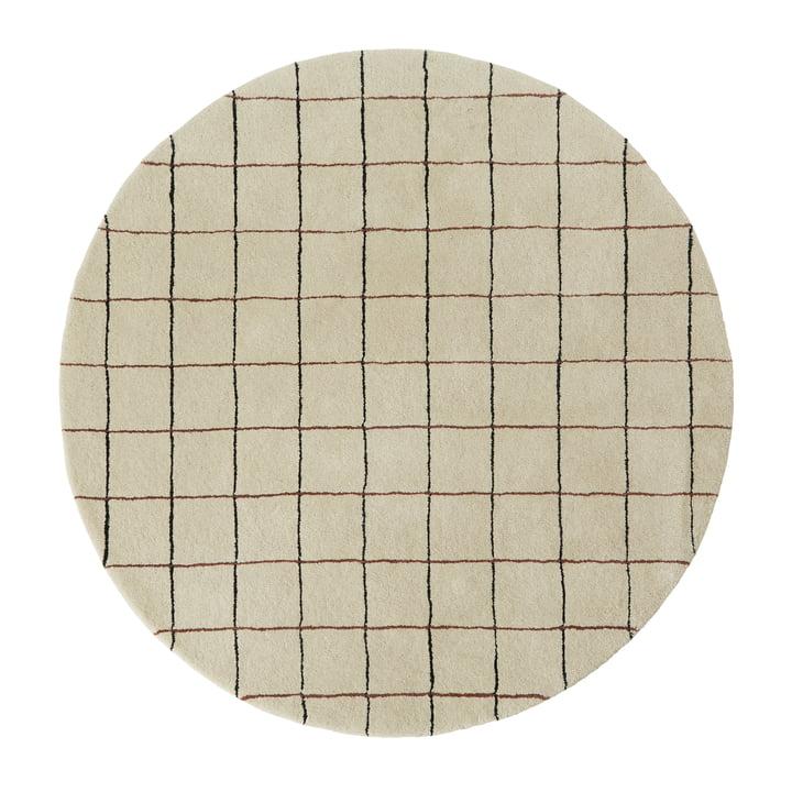 Grid Tapis Ø 140 cm de OYOY en blanc cassé