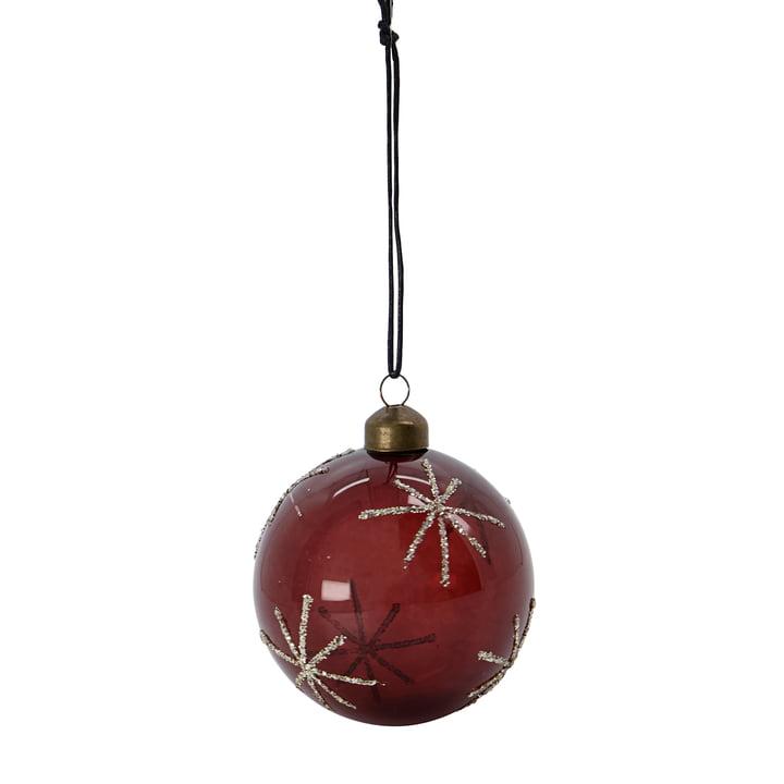 Glas Star Boule de sapin de Noël de House Doctor dans la couleur bordeaux