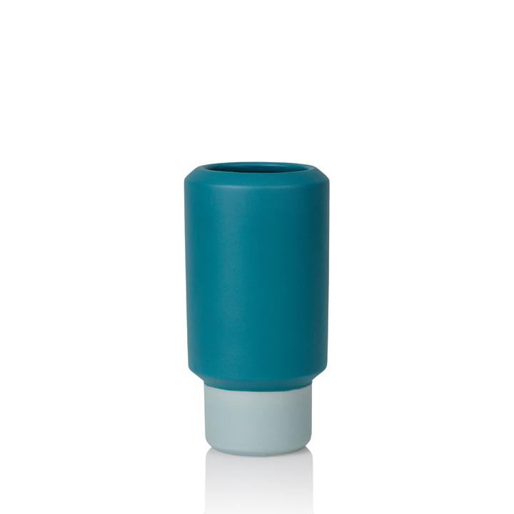 Fumario Vase H 16,5 cm de Lucie Kaas en bleu pétrole / vert menthe
