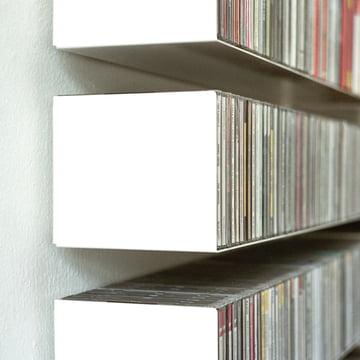 linea 1 b _étagère  CD en blanc en tôle d'acier