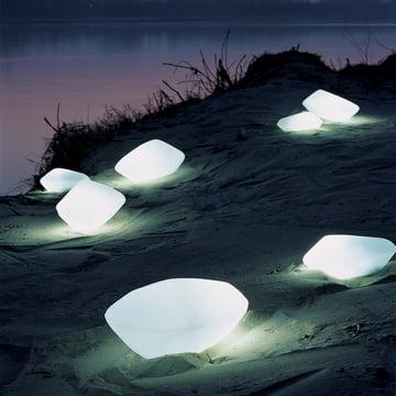 Luminaire d'extérieur Stones de Oluce en blanc