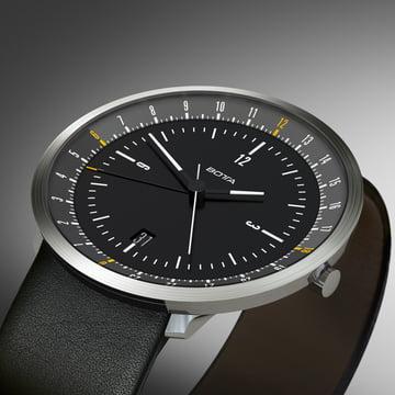 Botta Design - Montre Mondo, noir/bracelet en cuir