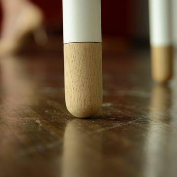 Radius Design - Secrétaire Miss Moneypenny, pied en bois, blanc