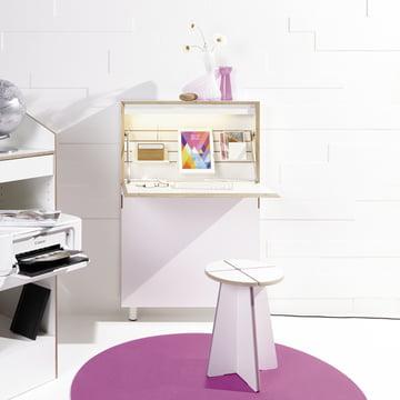 Müller Möbelwerkstätten - Flatmate bureau à mur, blanc / bouleau
