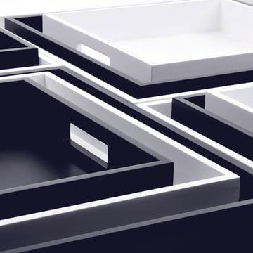 Plateaux Zen de XLBoom en blanc et grain de café