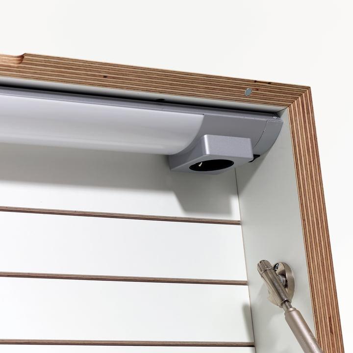 Müller Möbelwerkstätten - Flatbox, blanc - détail, lampe