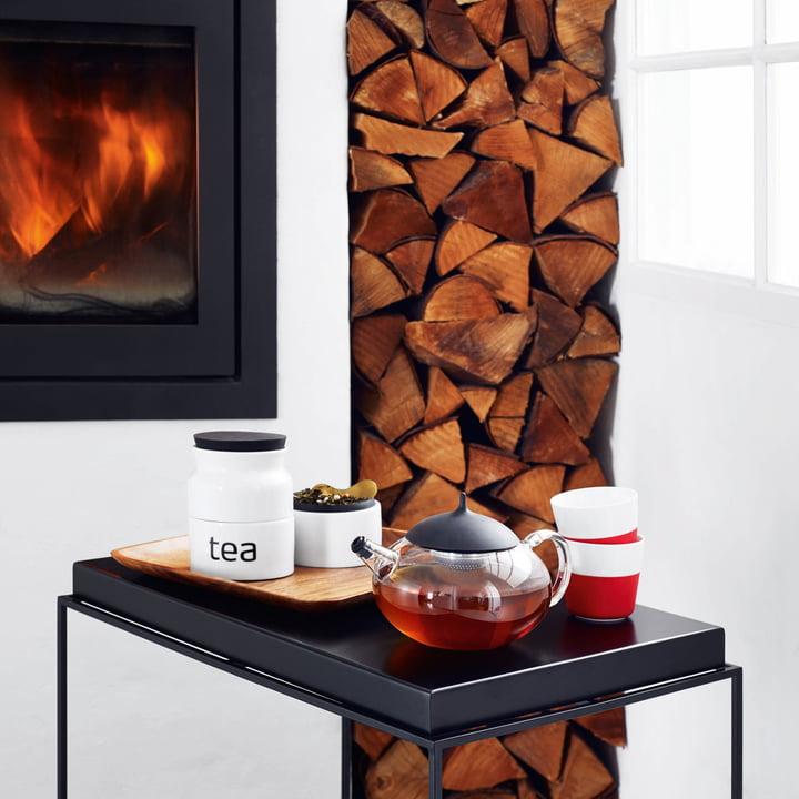 Solo de Eva - tasses lungo caffee, red / théière avec infuseur de thé