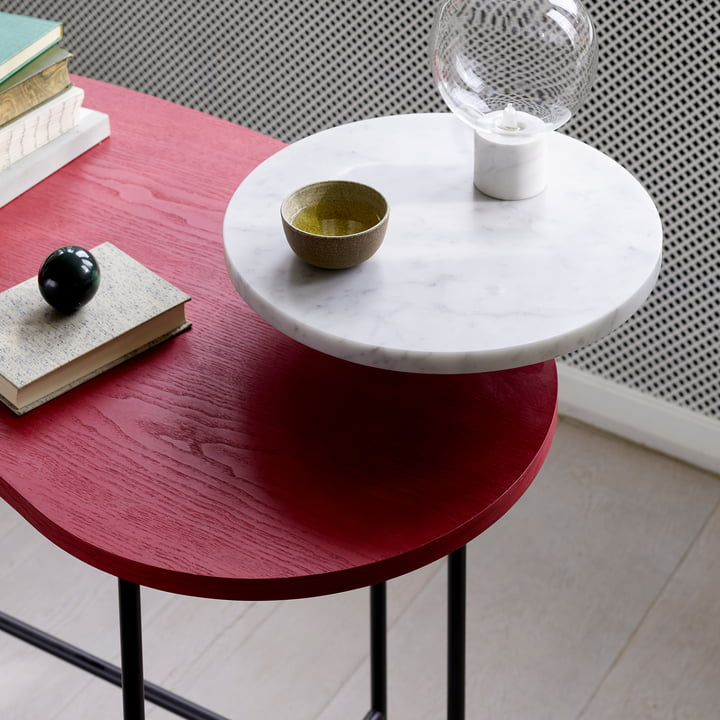 &Tradition - Bureau Palette JH9 en frêne rouge / Bianco Carrara