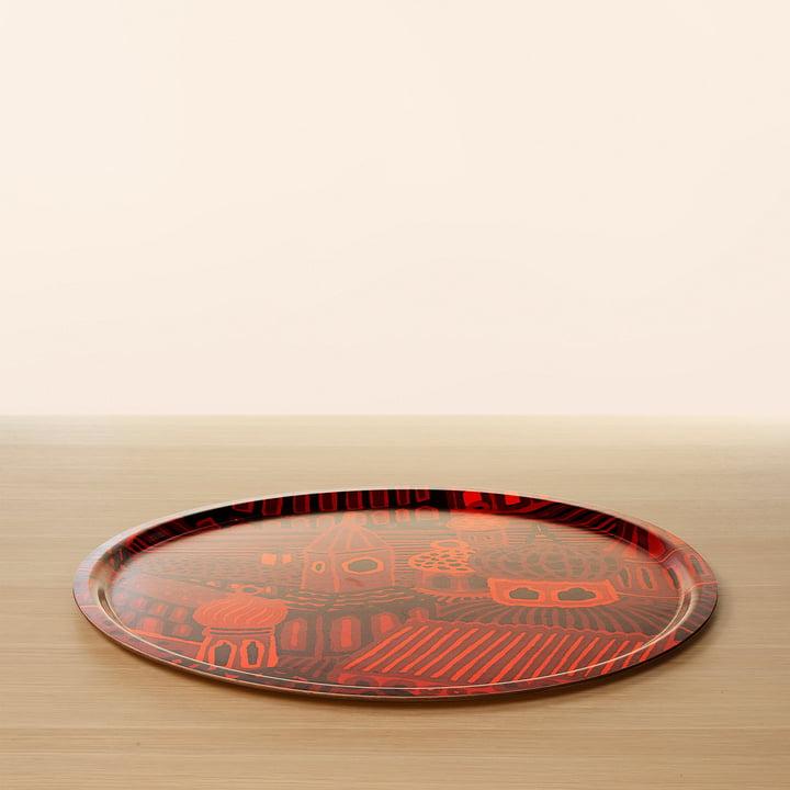 Plateau de service rouge en bois