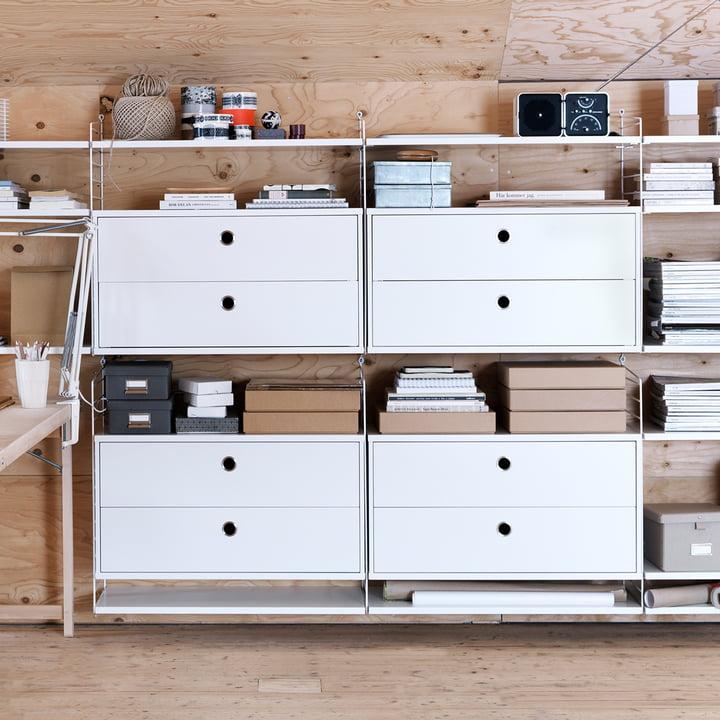 Système d'armoire modulaire avec tiroirs 78x30cm par String