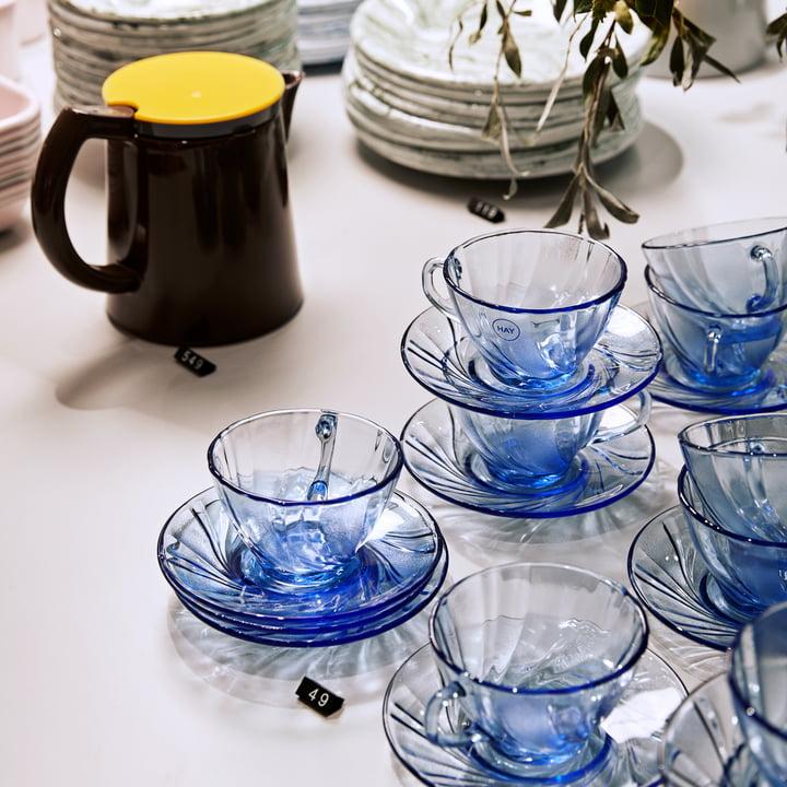 Cafetière Sowden et tasse à café Duralex avec soucoupe par Hay